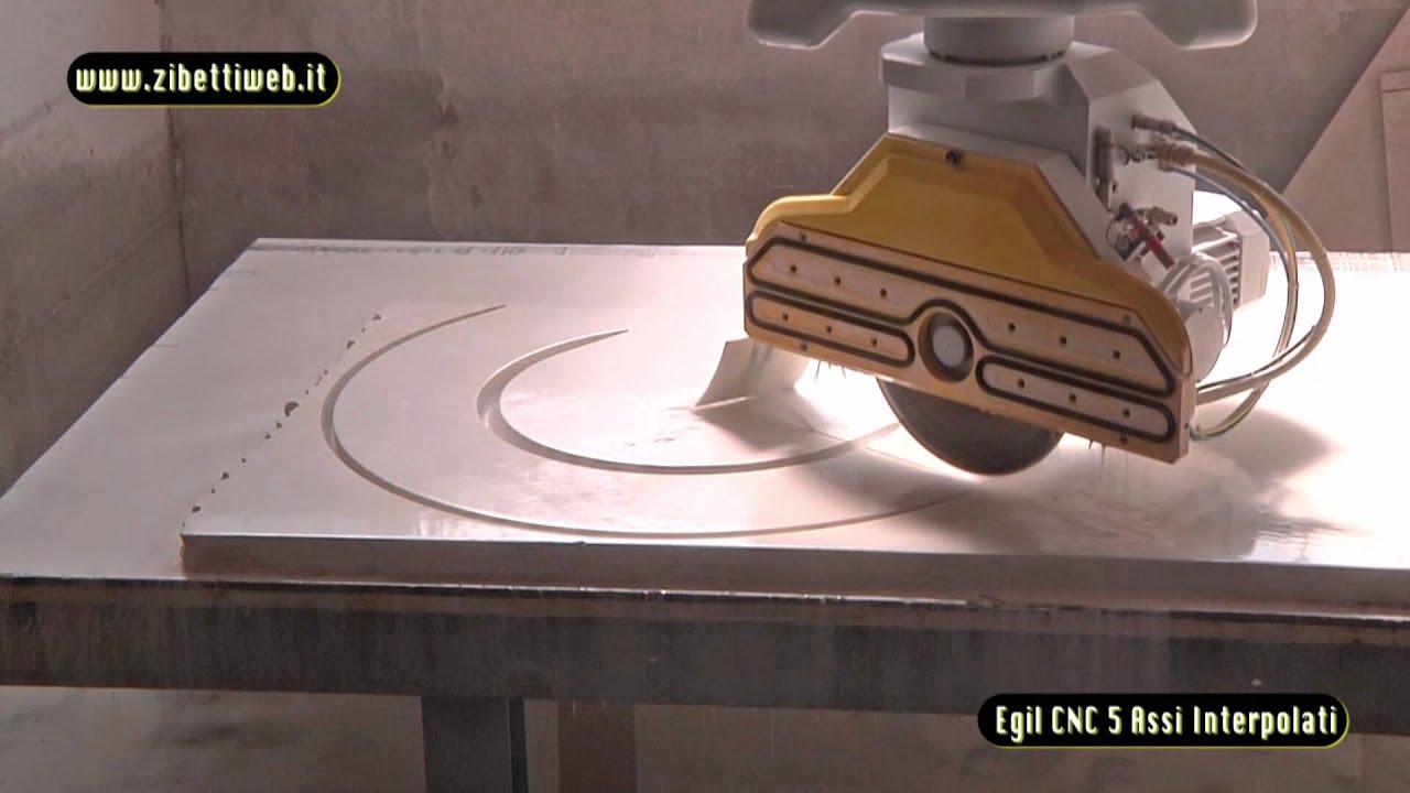 Tagliare Marmo Piano Cucina taglio masselli in curva con gmm egil cnc / curve cutting with gmm egil cnc