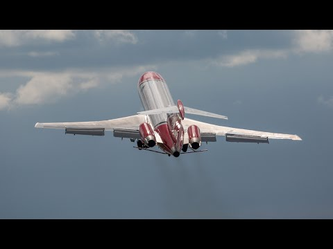 Boeing 727 impressive takeoff turn and loud landing Farnborough airshow 2016