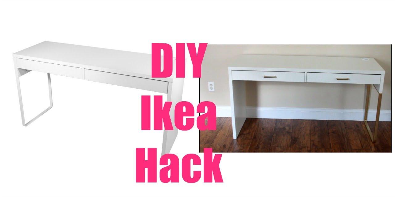 ikea hacks micke vanity desk u0026 irja curtain rods youtube