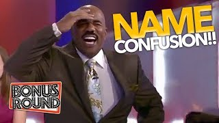 Steve Harvey Gets Confused Over Contestant Names On Family Feud! Bonus Round