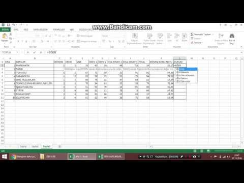 Excell'de Vize ödev final notları hesaplama