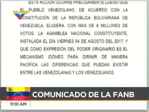 Comunicado de la FANB en torno a ataque en Fuerte Paramacay