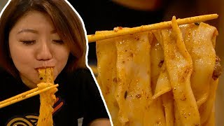 Slurping the LONGEST CHINESE NOODLES! Xi'an Foods New York