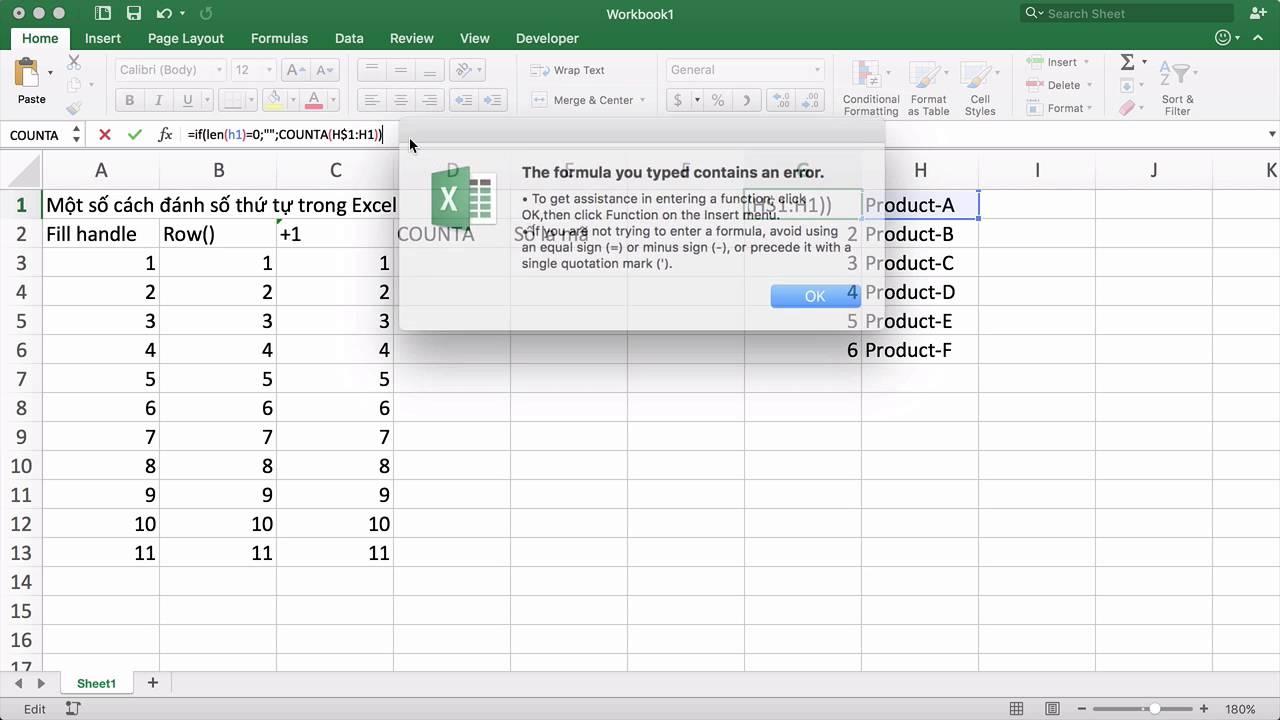 Tip 01 Một số cách đánh số thứ tự trong Excel