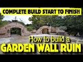 HOW TO BUILD A GOTHIC GARDEN WALL FOLLY, arches, wall fountain, arrow slots, windows (21 DAY BUILD)