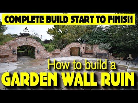 HOW TO BUILD A GOTHIC GARDEN WALL FOLLY arches wall fountain arrow slots windows 21 DAY