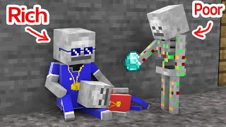 Monster School : Rich Become Poor ( Baby Skeleton Sad Story ) - Minecraft Animation