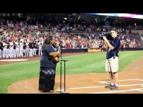 Palanai Engle sings the National Anthem
