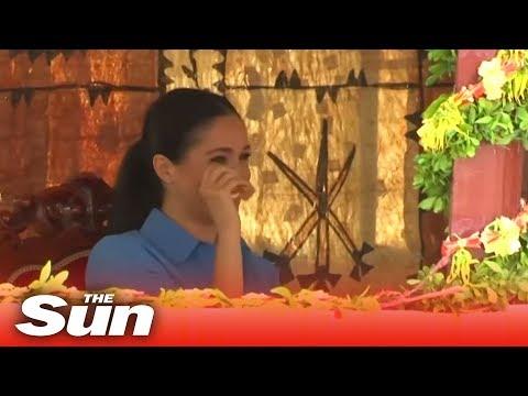 Pregnant Meghan Markle cries tears of joy in Tonga