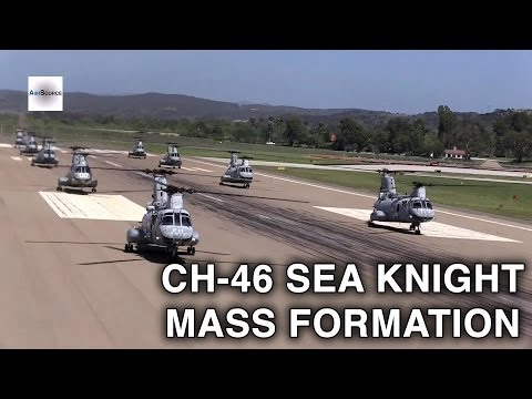 "Mass Formation CH-46 '""Sea Knight"" Helicopter Commemorative Flight"