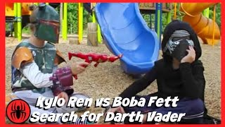 Kylo Ren is Boba Fett's Slave! Search for Darth Vader fun in real life comics fight SuperHero Kids
