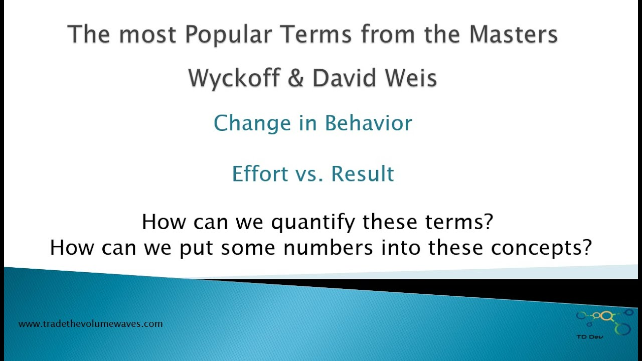 Lesson 11 Weis Wave with Speed Index-Quantify Effort vs Result and Change in Behavior