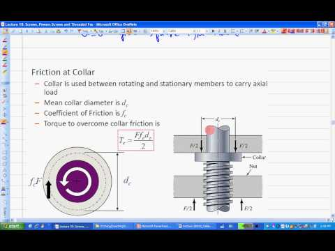 ENGR380 Lecture18 Screws and Power Screws