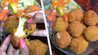 Mutton Cheese Balls - Mutton Keema Cheesy Snack Recipe - Easy Evening Snack