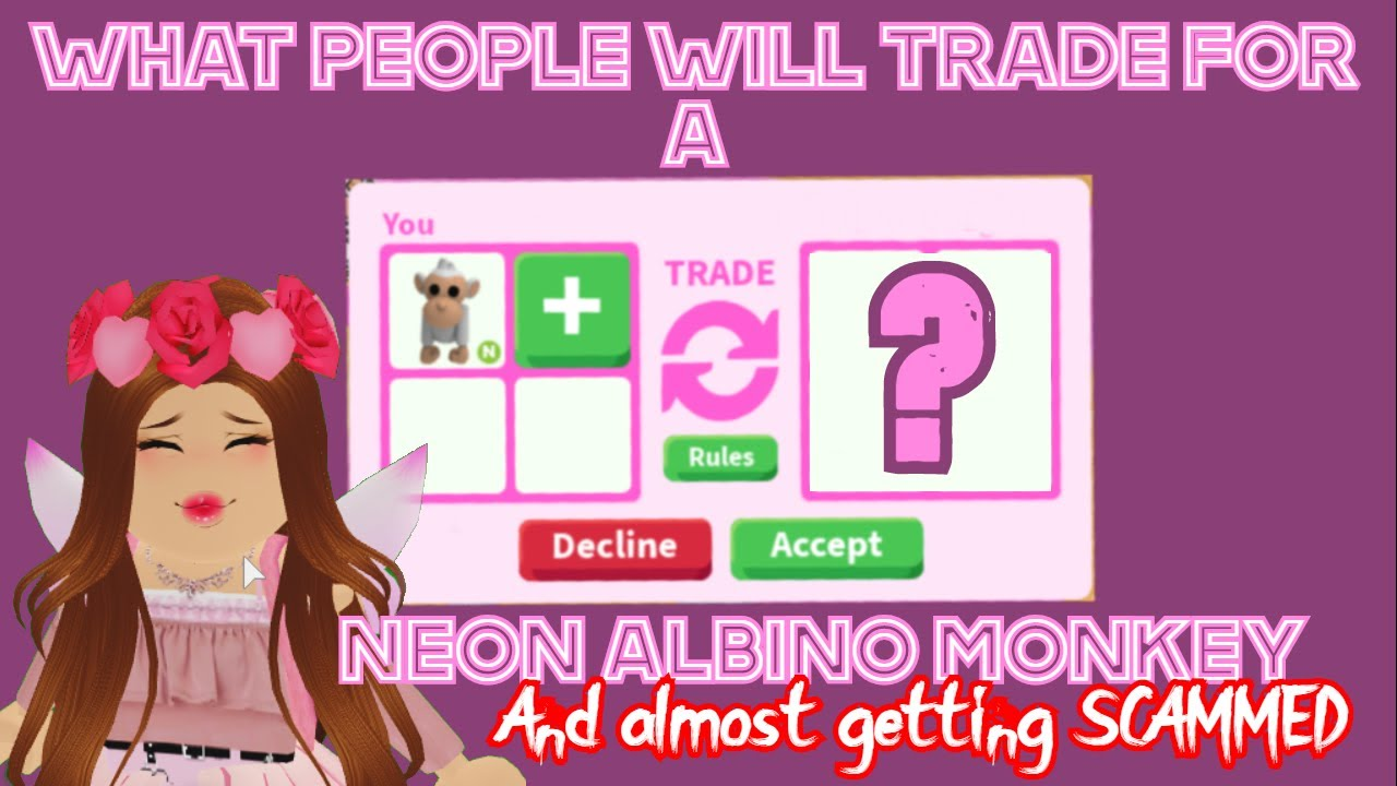 What People Will Trade For A Neon Albino Monkey Roblox Adopt Me