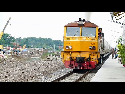 Thai Railway Alsthom 4120 with Cement Freight Train at Bang Bamru Station May 5, 2011