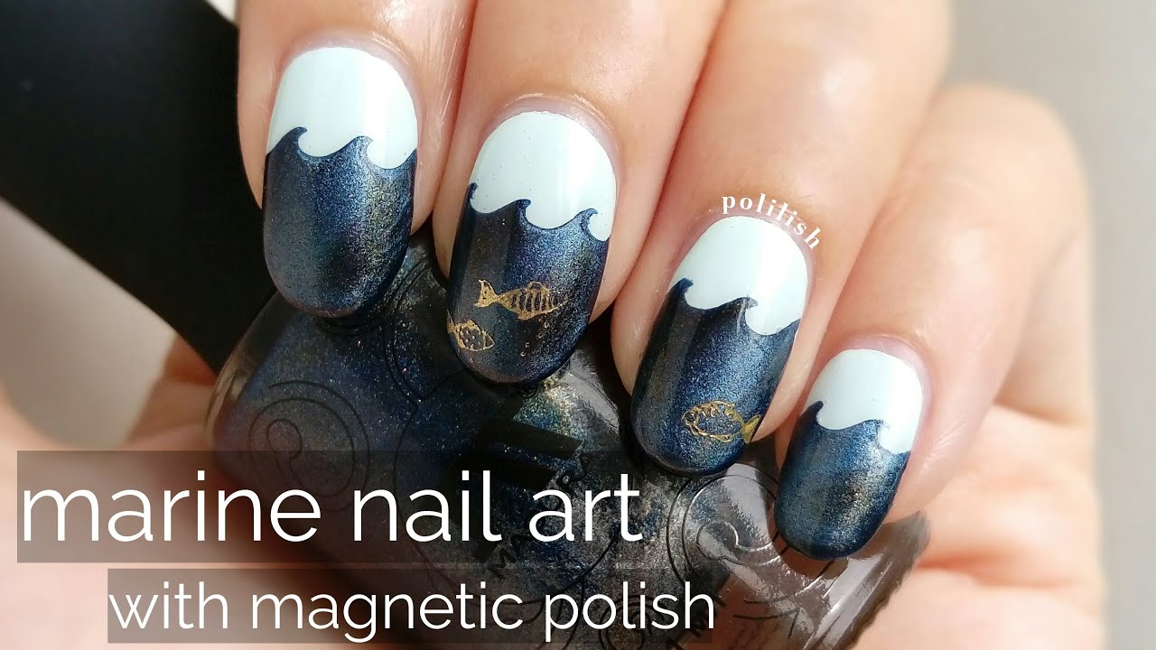 Marine Nail Art With Magnetic Polish