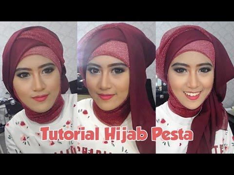 Tutorial Hijab Pesta Inivindy Mengunakan Pashmina Glitter Dan Hijab Paris Segi Empat Youtube