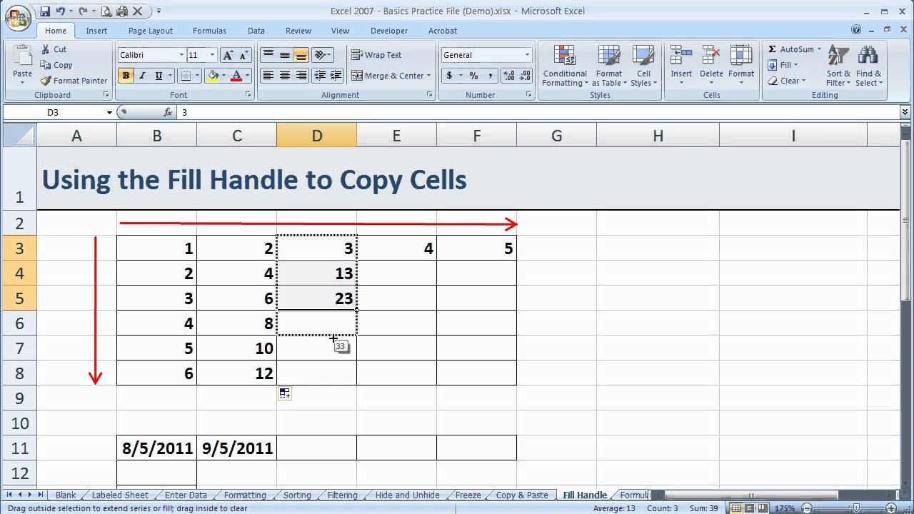 how to copy cells using the fill handle in excel 2007  excel 07-019