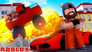 ferrari 6 criminals in my monster truck   jailbreak   roblox