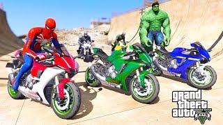 Spiderman With Sports MOTORCYCLES Rampa Jumping Challenge BIG HULK, Captain America - GTA V MODS
