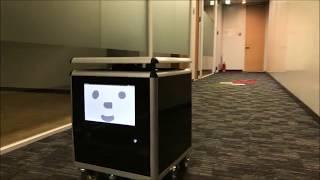 5G活用実証実験 ROSベースロボット「CUBEくん」自律走行の様子