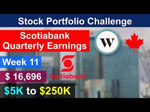Scotiabank Quarterly Earning & $16,696 Stock Investment Portfolio   $250K Wealthsimple Challenge #11