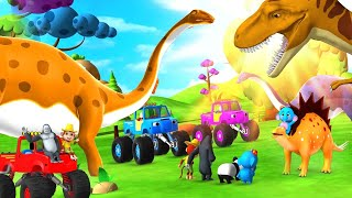 Dinosaur VS Gorilla Race in Forest   Monster Cars Funny Animals Comedy Video   3D Animals Fun Games