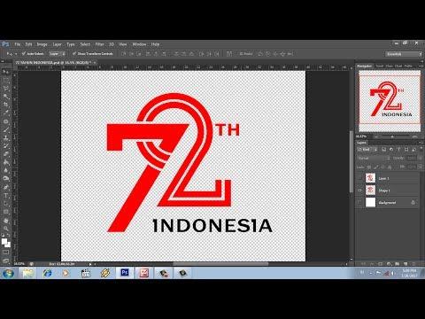 re desain logo hut ri ke 72 dengan photoshop