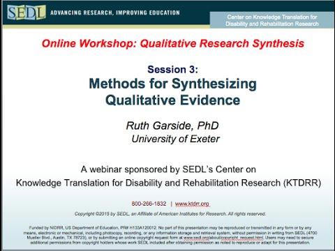 Methods For Synthesizing Qualitative Evidence