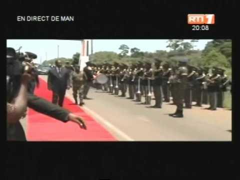 Arrivée du président de la république à Man