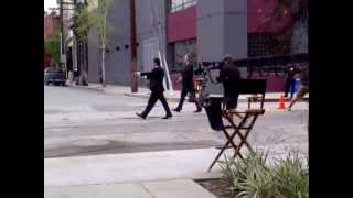 AL PACINO AND CHRISTOPHER WALKEN SHOOTOUT FILMING STAND UP GUYS MOVIE IN LA TAKE 1