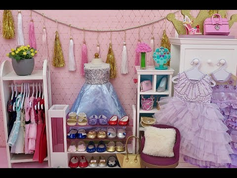 American Girl Doll Prom Room! Baby Doll Clothes Closet Dollhouse!