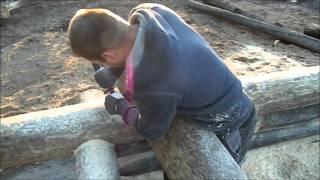 Building The Log Sauna, In Estonia