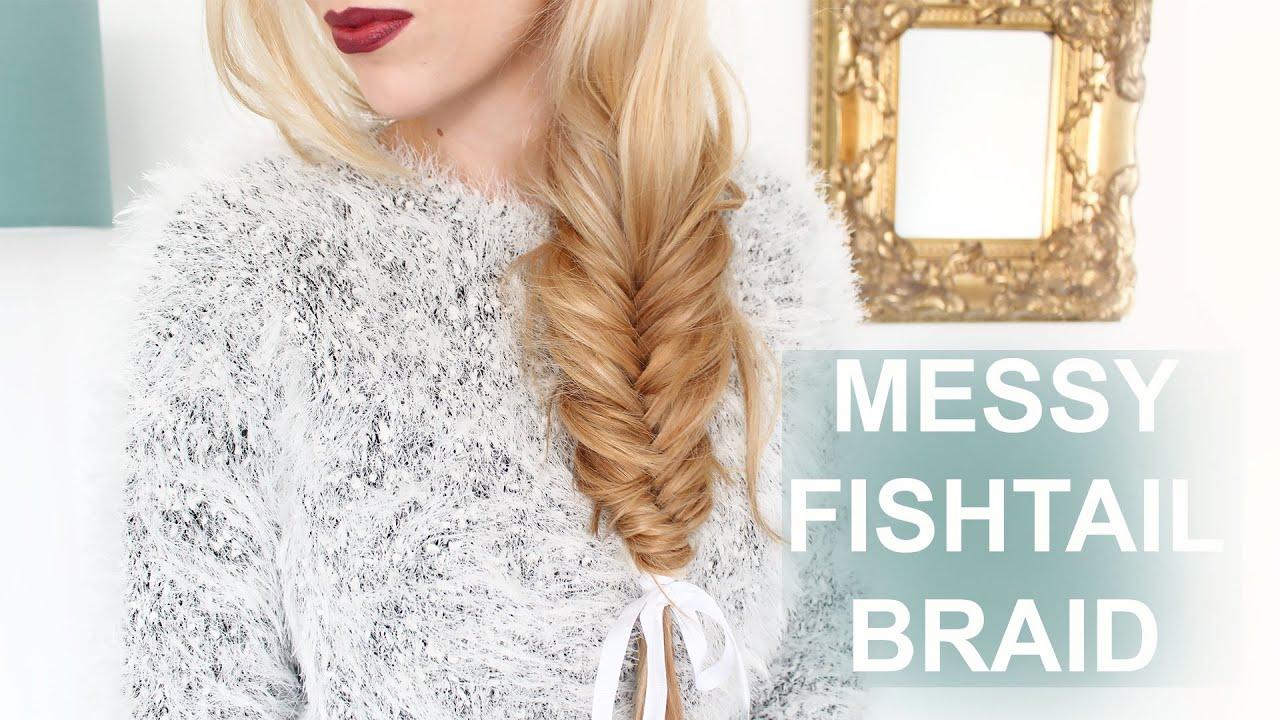 EASY Messy Fishtail Braid For Short + Long Hair!!! - YouTube