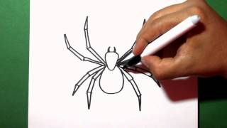 how to draw a spider - como dibujar una araña - painting