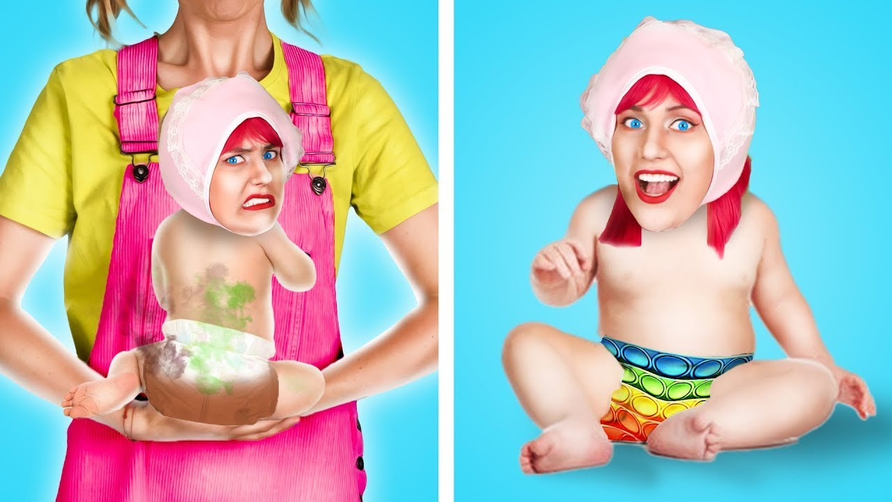 Is it Hard to Be a Parent? MOM BECOMES A BABY FOR 24 HOURS! Parenting Life Hacks for Beginners