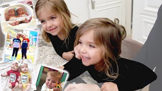 Taytum and Oakley REACT TO OLD PHOTOS AND VIDEOS! *FUNNY*