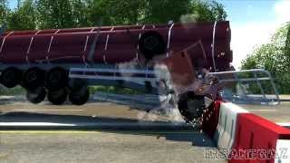 BeamNG Drive D-15 Full size logging trailer Crash Testing #90