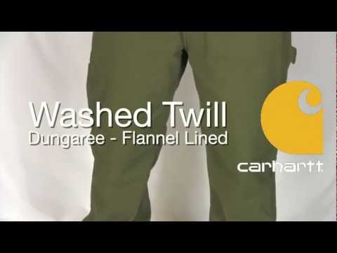 d4048cb137 100070 Carhartt Washed Twill Dungaree - Flannel Lined - YouTube