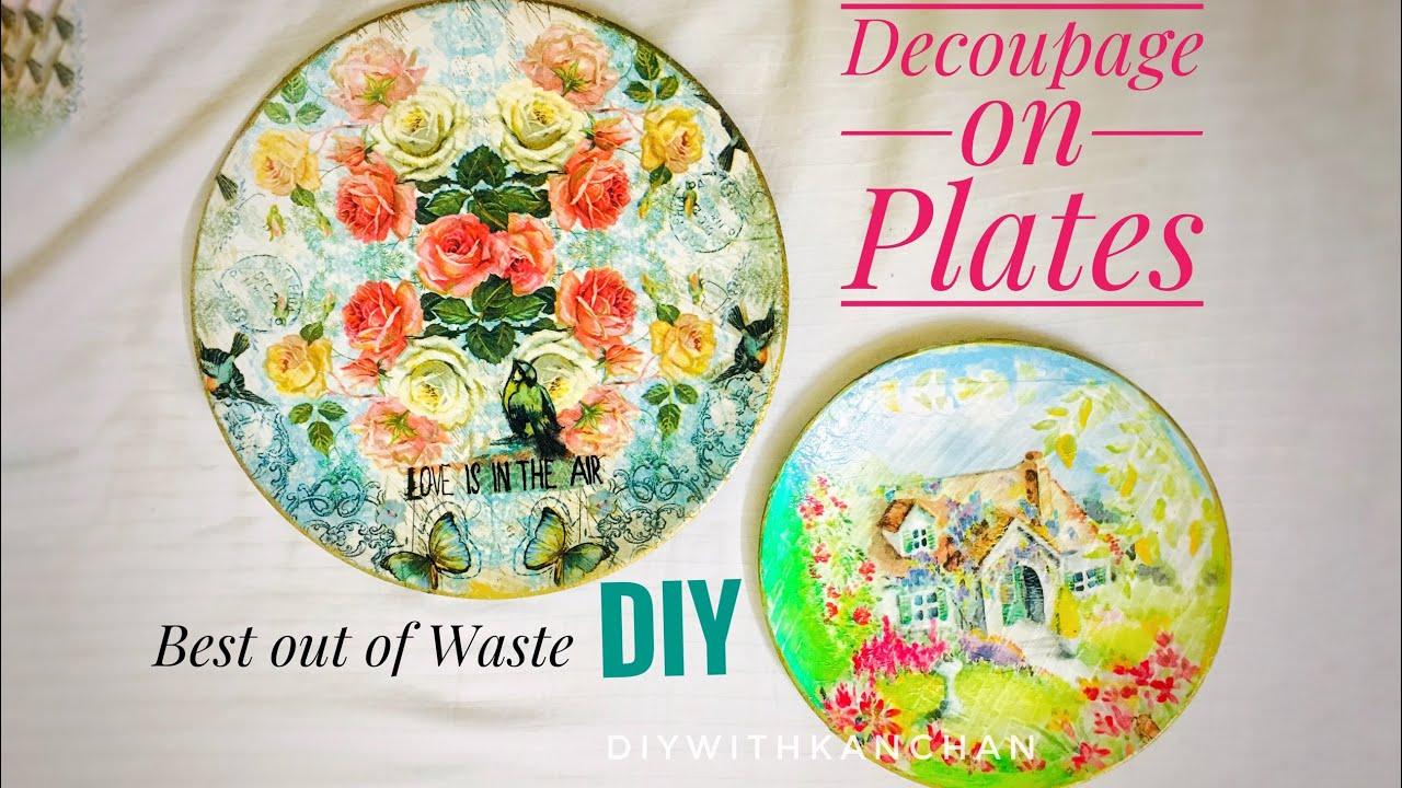 How To Decoupage Plates\\Decoupage On Melamine\\Reuse Old Plates\\Decoupage On  Fiber Plates decoupage
