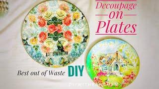 How To Decoupage Plates\Decoupage On Melamine\Reuse Old Plates\Decoupage On Fiber Plates #decoupage