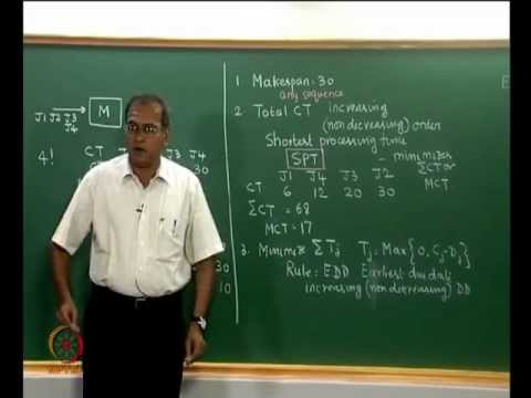 Mod-07 Lec-25 Single machine sequencing. Two machine flow shop -- Johnson's algorithm