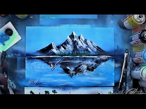 Mountains reflection in glossy lake SPRAY PAINT ART by Skech