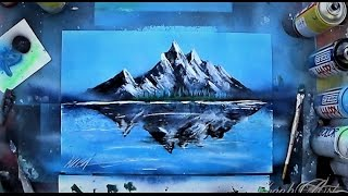 Mountains reflection in glossy lake - SPRAY PAINT ART by Skech