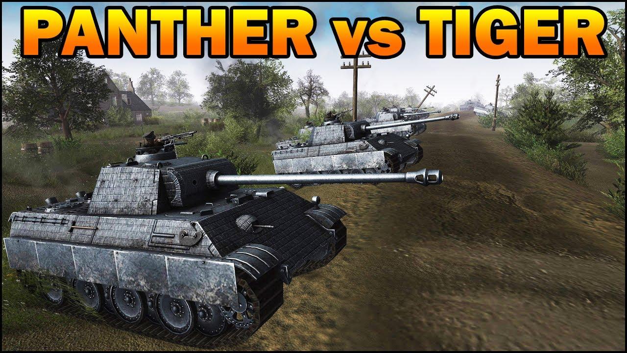 20 TIGERS vs 20 PANTHERS - German Tanks Duel - Men of War ...