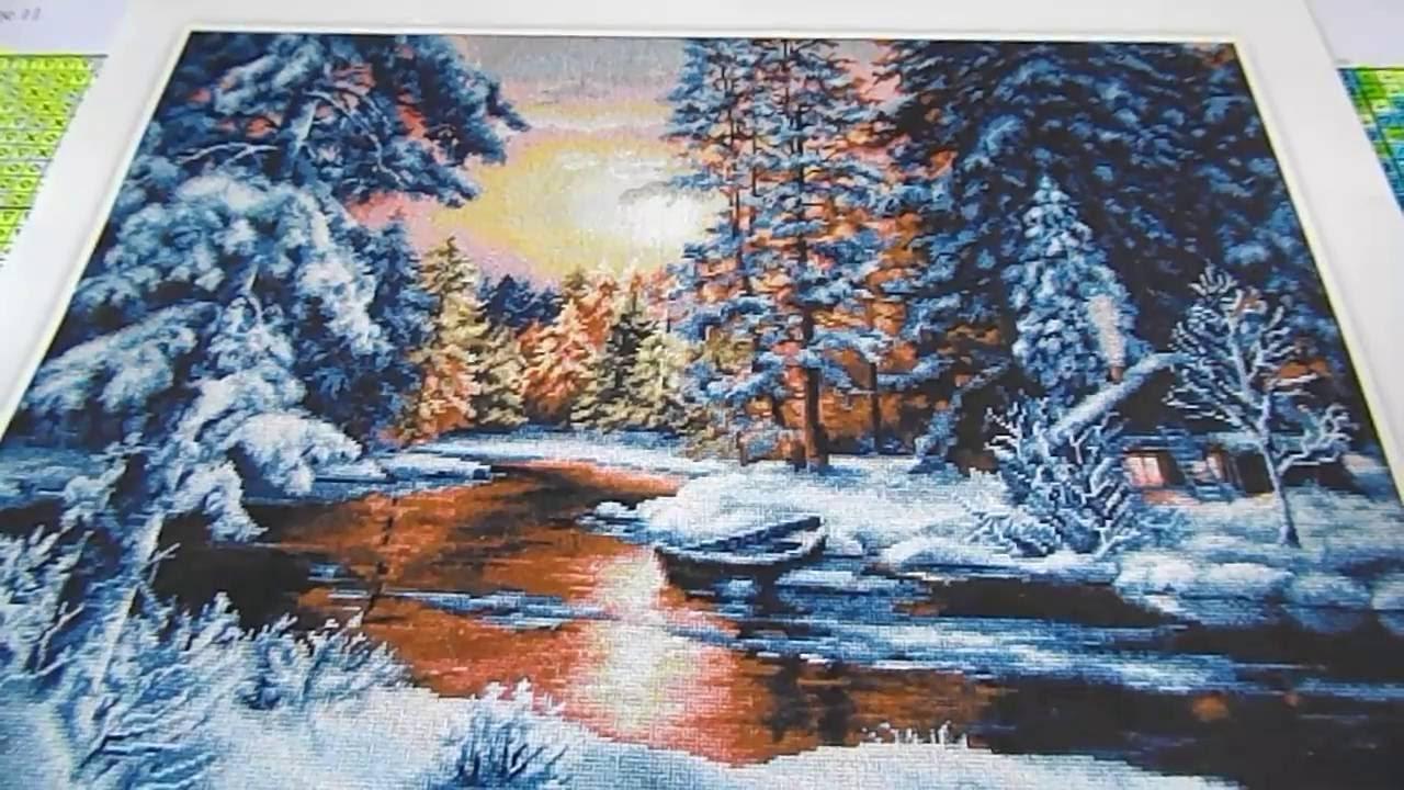 Зимний пейзаж в вышивке 96