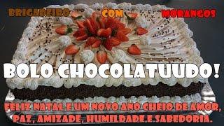 BOLO CHOCOLATUUDO - BRIGADEIRO COM MORANGOS