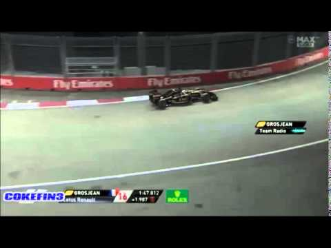 ''BLOODY ENGINE'' Grosjean angry about Renault - Singapore 2014