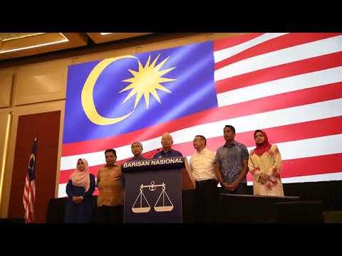 Malaysia GE14: Najib Razak speaking at Barisan Nasional press conference